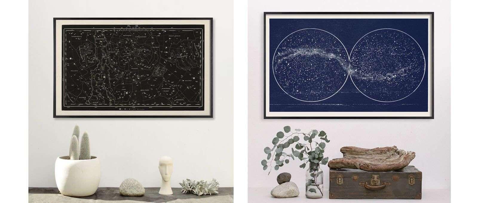 celestial art, large horizontal art, vintage constellations