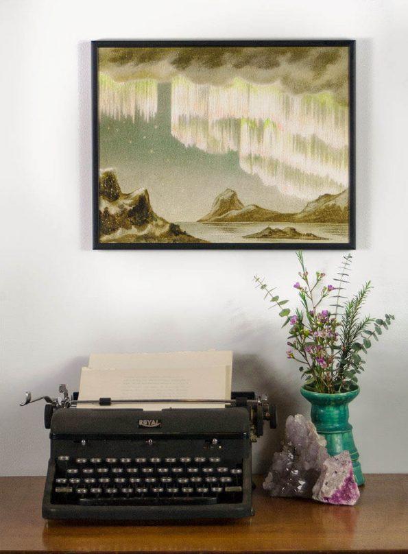 vintage northern lights art print