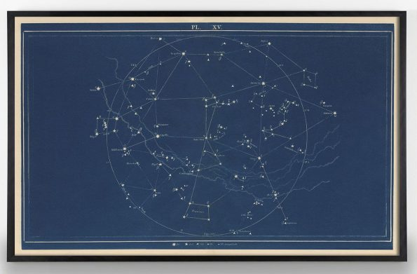 minimal blue constellation print