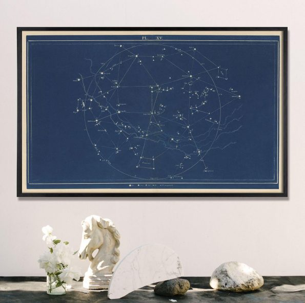 large horizontal blue artwork