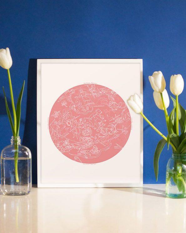 zodiac constellation print rose quartz