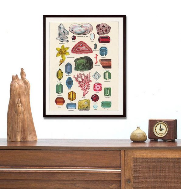 antique gem and mineral rock art print