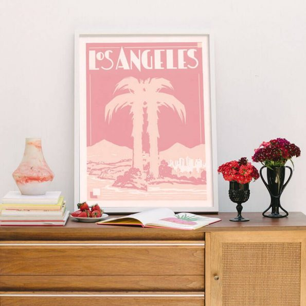vintage los angeles print in pink