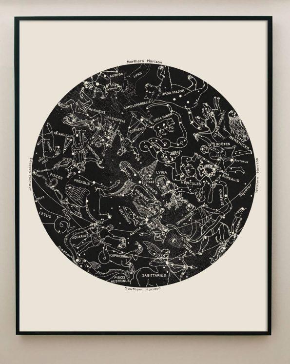 zodiac constellation print black