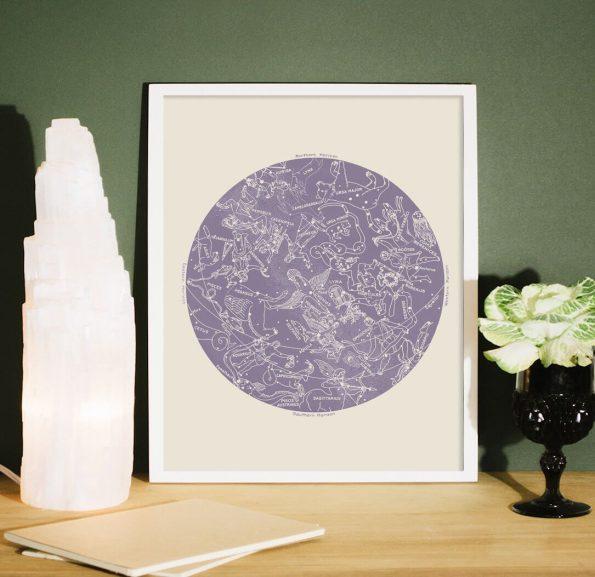 zodiac constellation print lavender