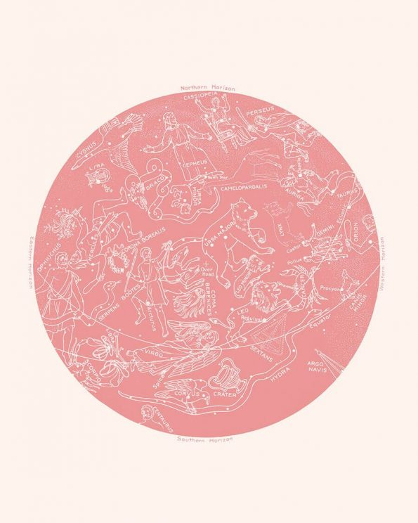 zodiac constellation print rose quartz