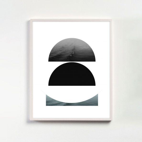 black and white minimalist geometric art print