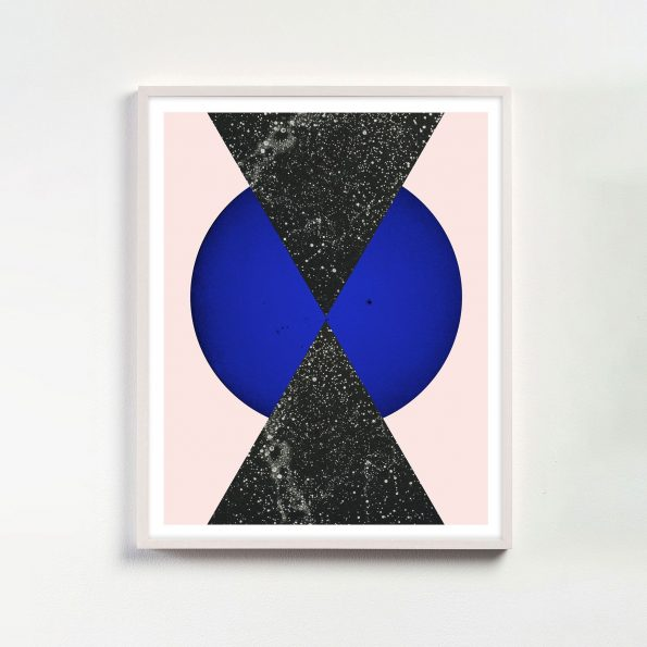 pink and yves klein blue geometric art