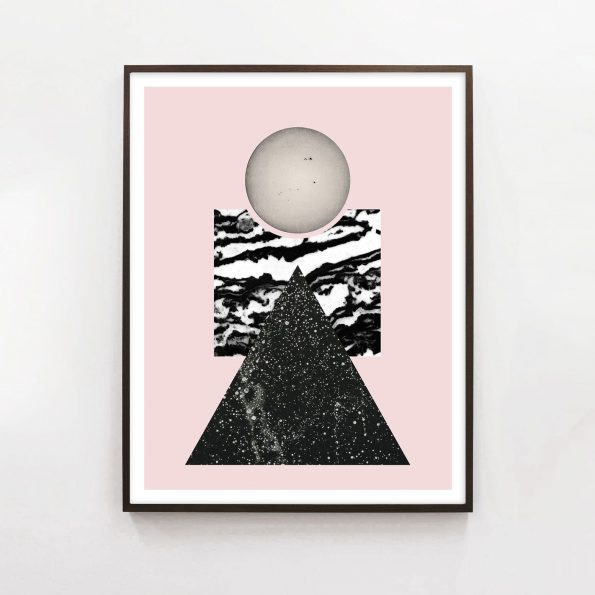 modern pink geometric art with celestial triangles