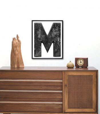 distressed letter m art