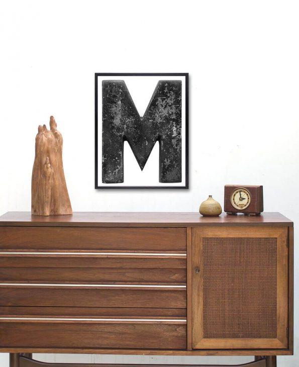 distressed letter m art