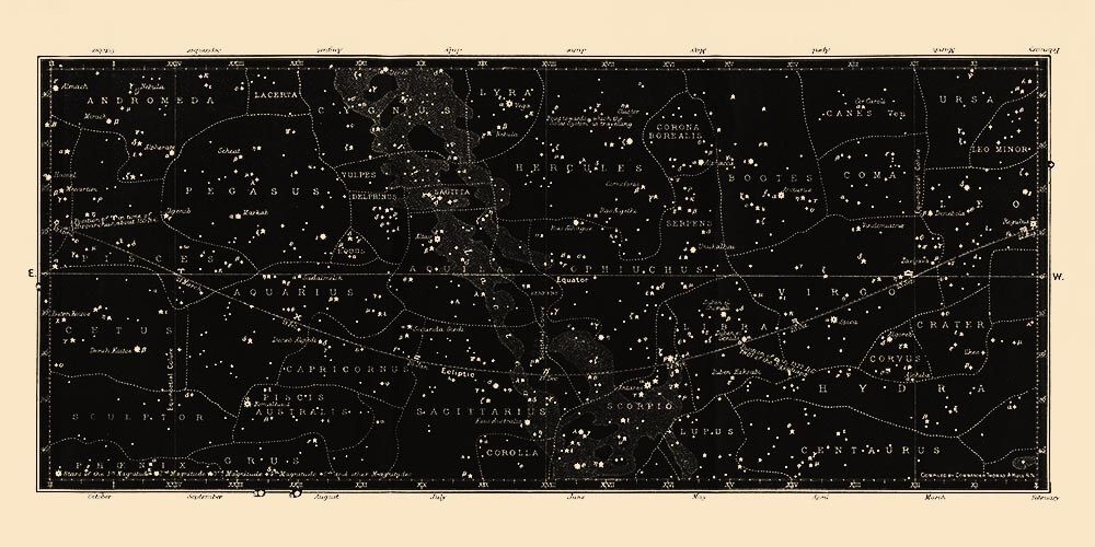 Star Map Chart Print | Capricorn Press