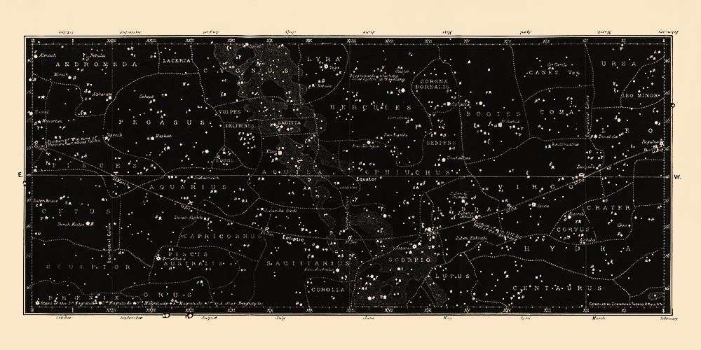 Star Map Chart Print  Capricorn Press