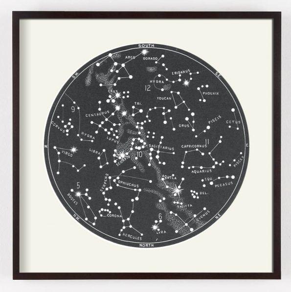 gray star map print