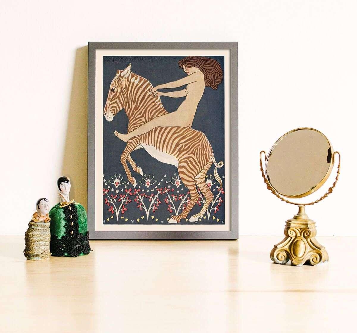 woman riding zebra