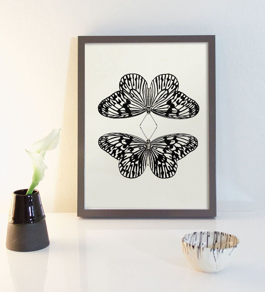 minimal butterfly art