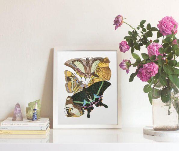 art nouveau butterfly print