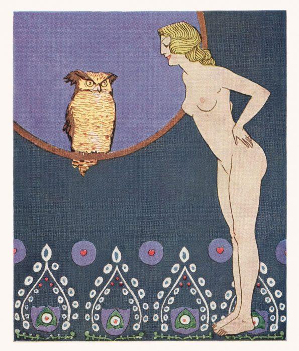 art nouveau owl