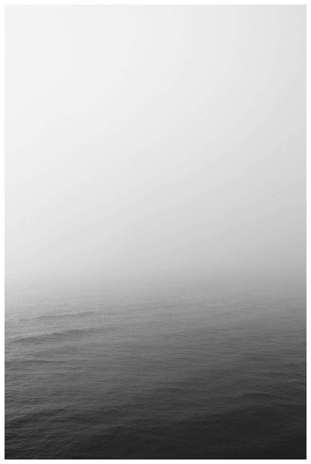 Black and white ocean horizon vertical poster print