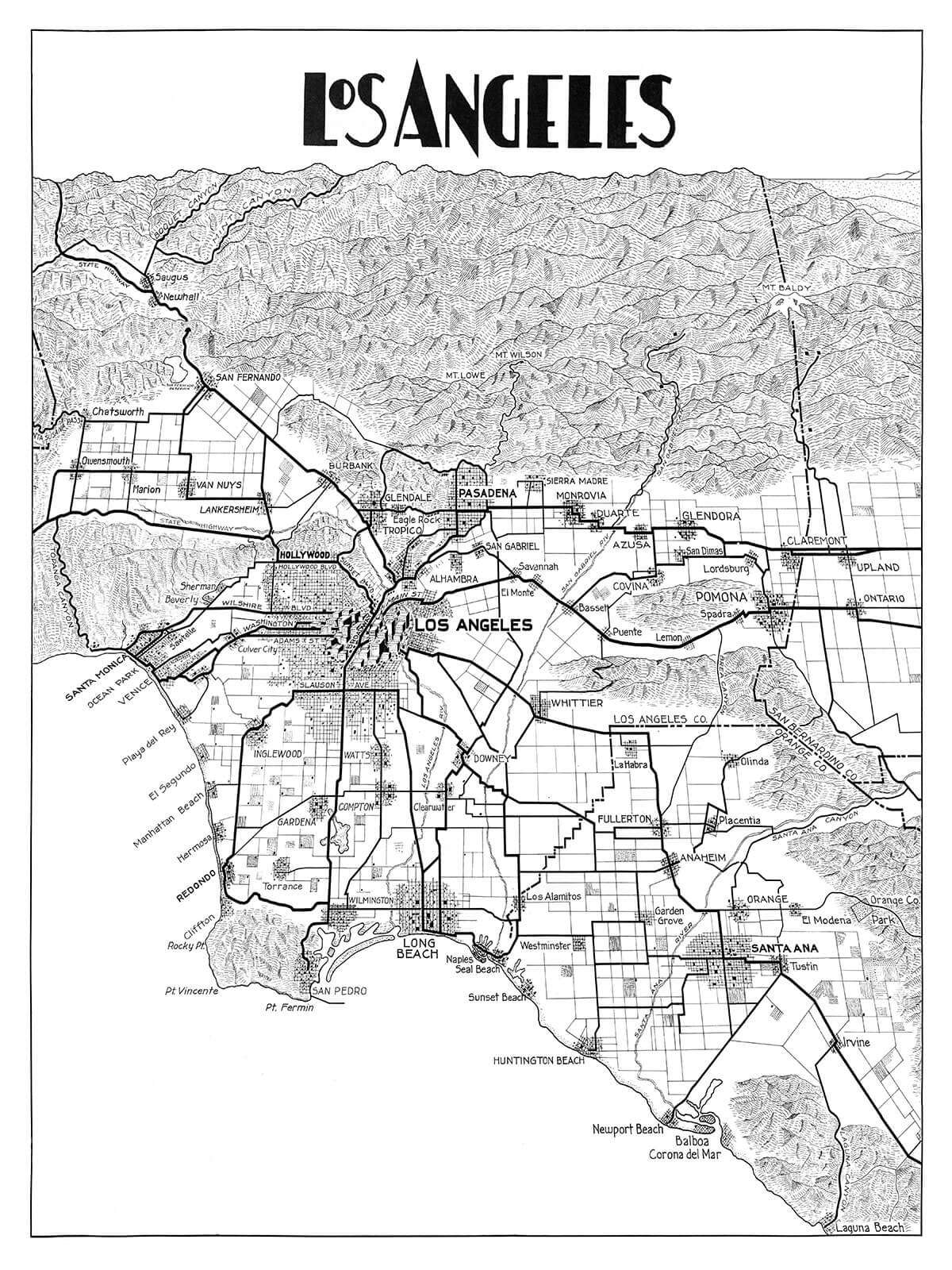 image relating to Printable Map of Los Angeles named Traditional LA Map (portrait variation) inside numerous shades