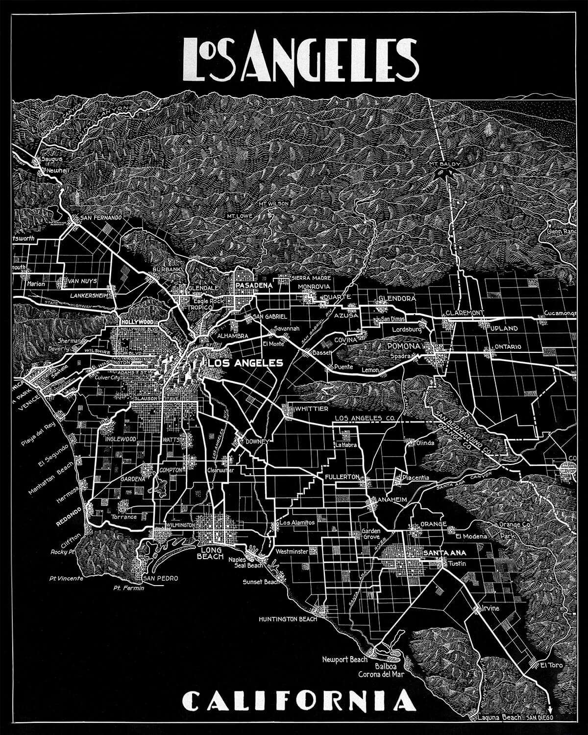 Los Angeles Map Print