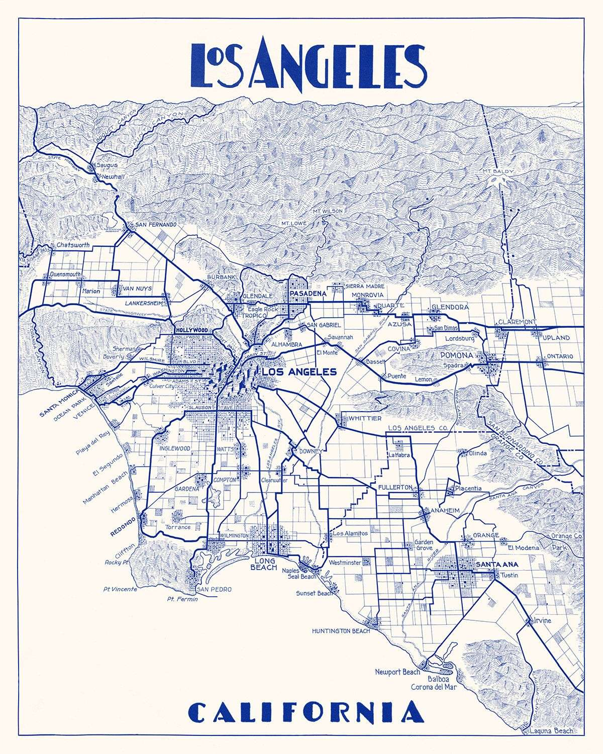 It is a graphic of Satisfactory Printable Map of Los Angeles