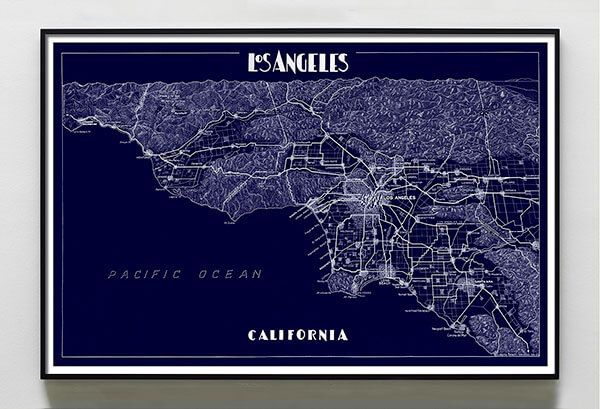Los Angeles Map Print Landscape Capricorn Press: Los Angeles Map Print At Infoasik.co