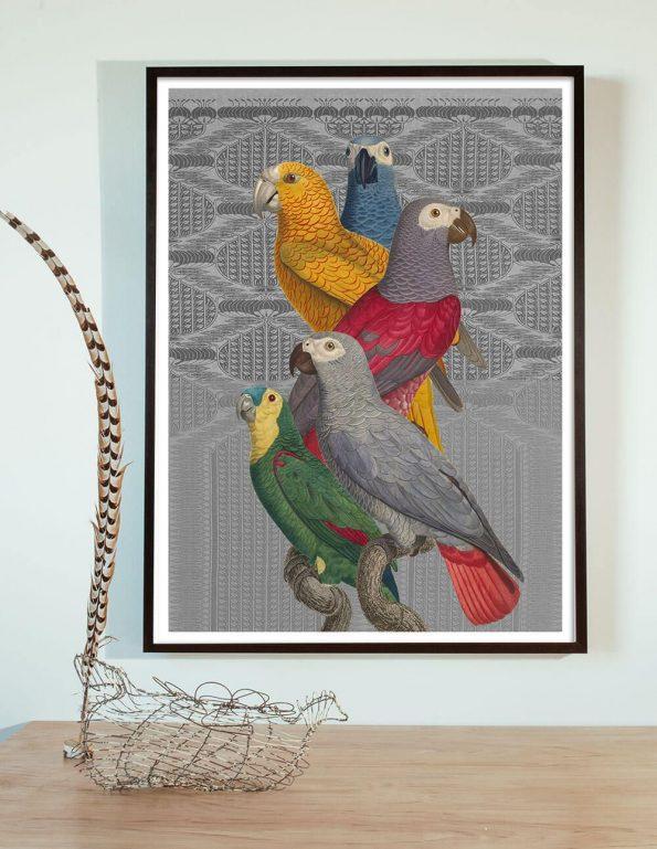 antique bird collage