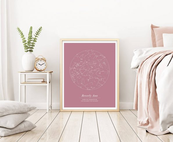 custom star map pink