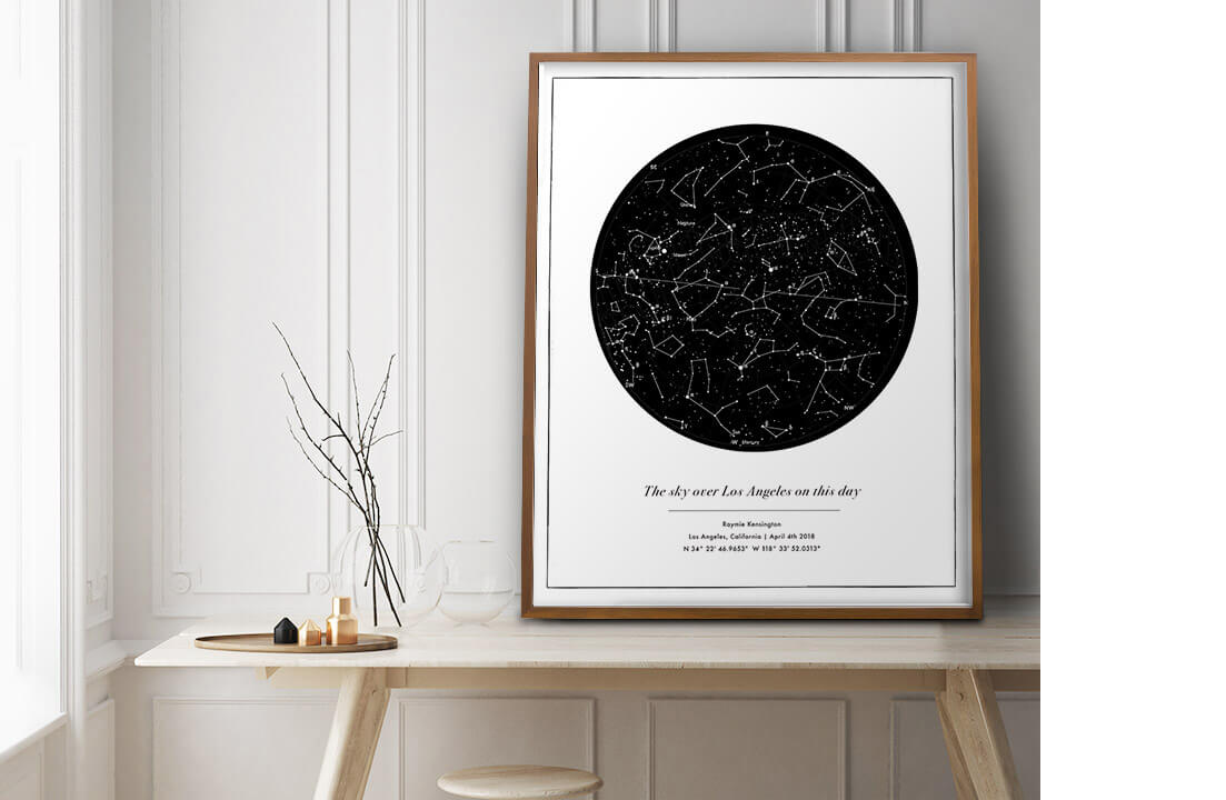 Custom Star Map Anniversary Wedding Birthday New Mom Baby Gift