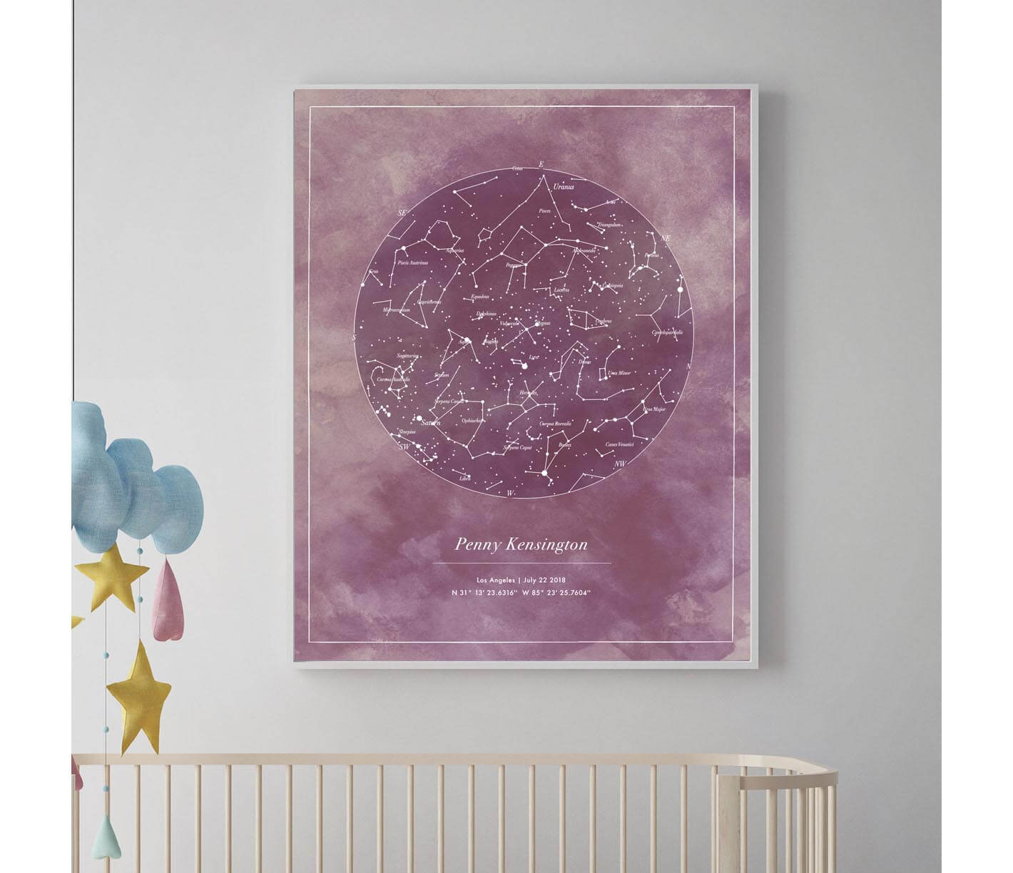 Personalized star map anniversary wedding birthday baby gift personalized art for nursery negle Image collections