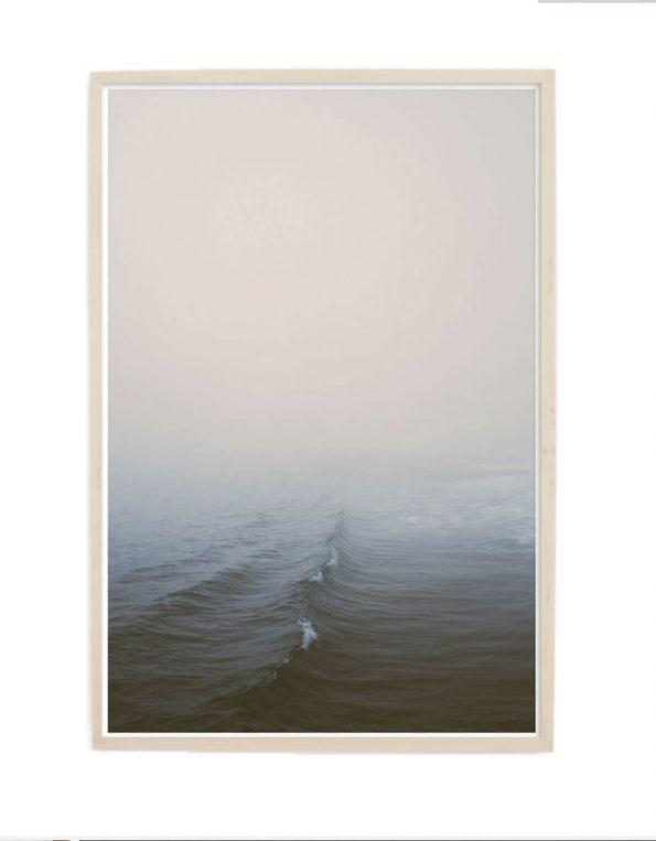 ocean wave print in wood frame