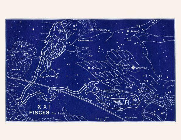 vintage zodiac pisces print
