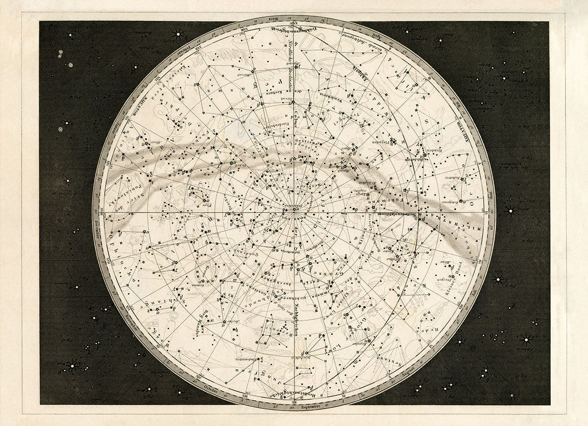 19th C. Celestial Map | Capricorn Press Celestial Map on