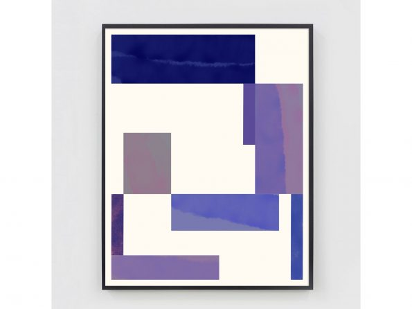 pink and purple abstract geometric print with black frame