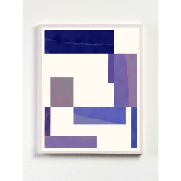 pink and purple abstract geometric print with white frame