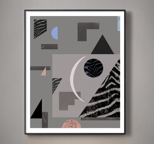 gray blue and pink geometric collage with textures