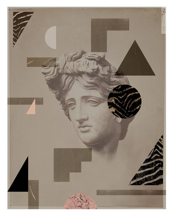 classical bust with geometric shapes muted colors