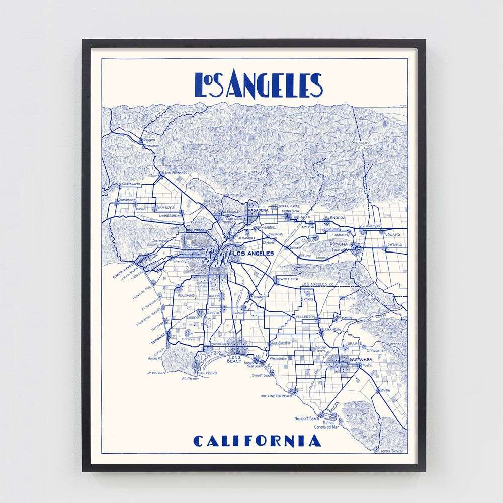 Map Of California La.Vintage Los Angeles Map Portrait Version Color Variations