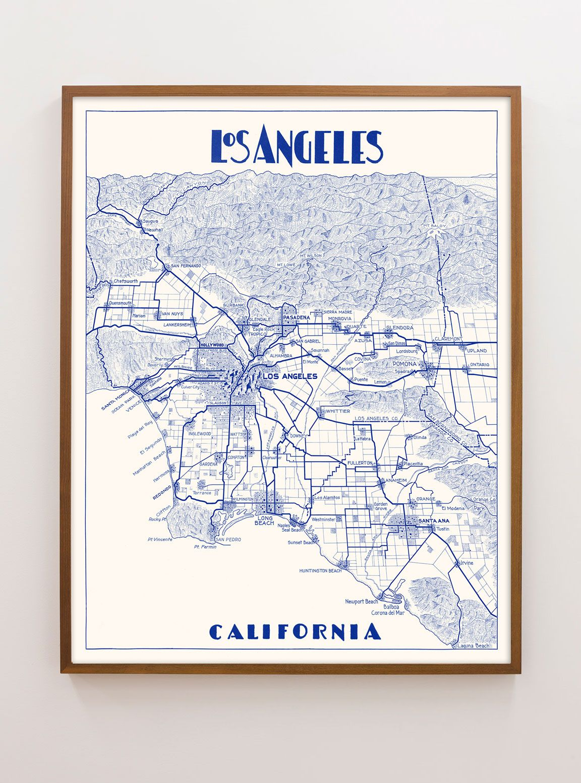 photo about Printable Map of Los Angeles named Typical Los Angeles Map (portrait variation) - Colour variances