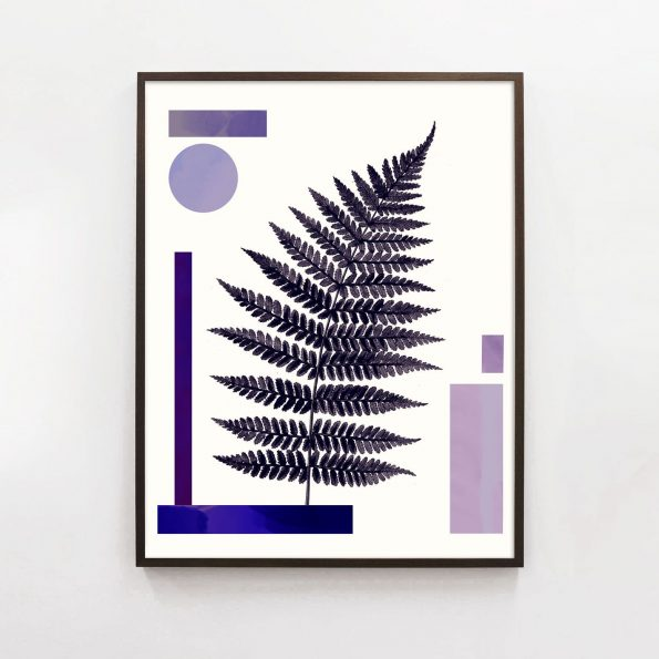 purple botanical print with abstract geometric shapes