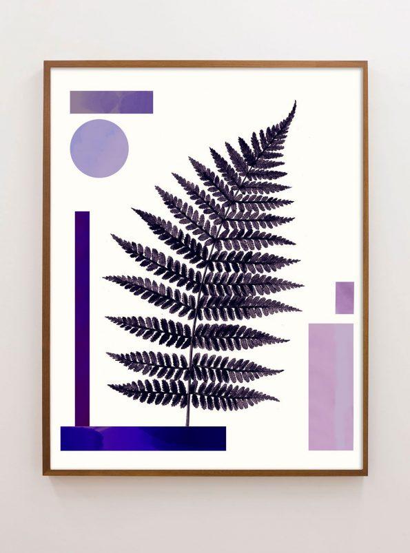 lavender and indigo botanical print with geometrics