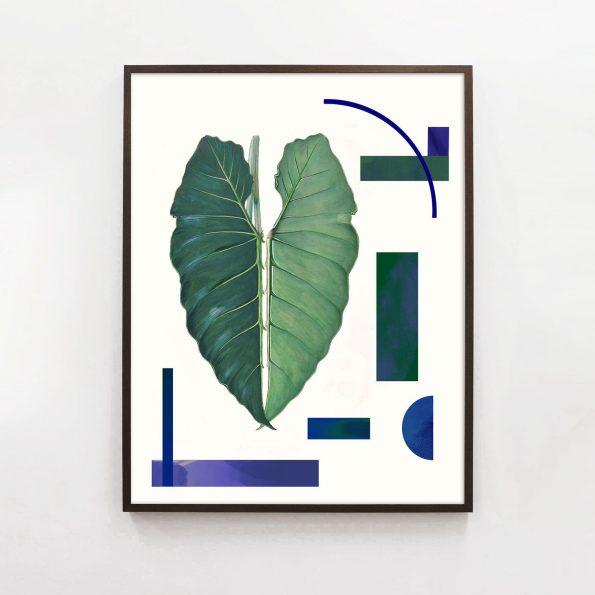 organic modern botanical leaf print with geometric pattern