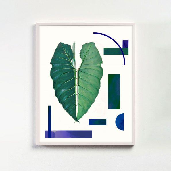 botanical print with geometric shapes