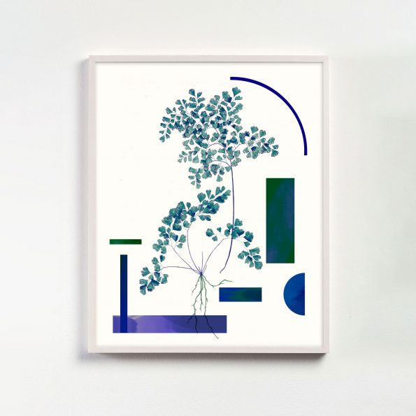 modern botanical art with geometric