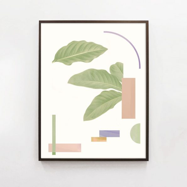 abstract botanical print in pastel palette