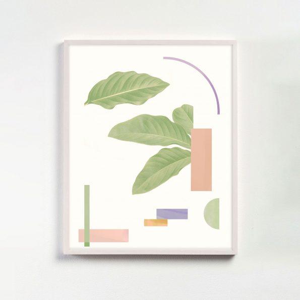 pastel modern geometric print with botanicals